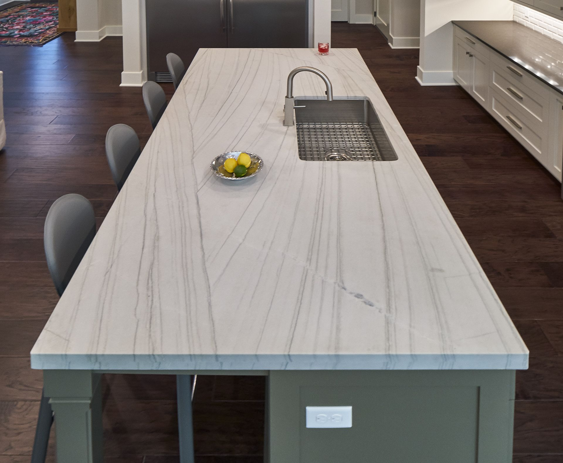 the focal point for this kitchen is this gorgeous island made from white quartzite macaubas on kitchen island ideas white quartz id=71917