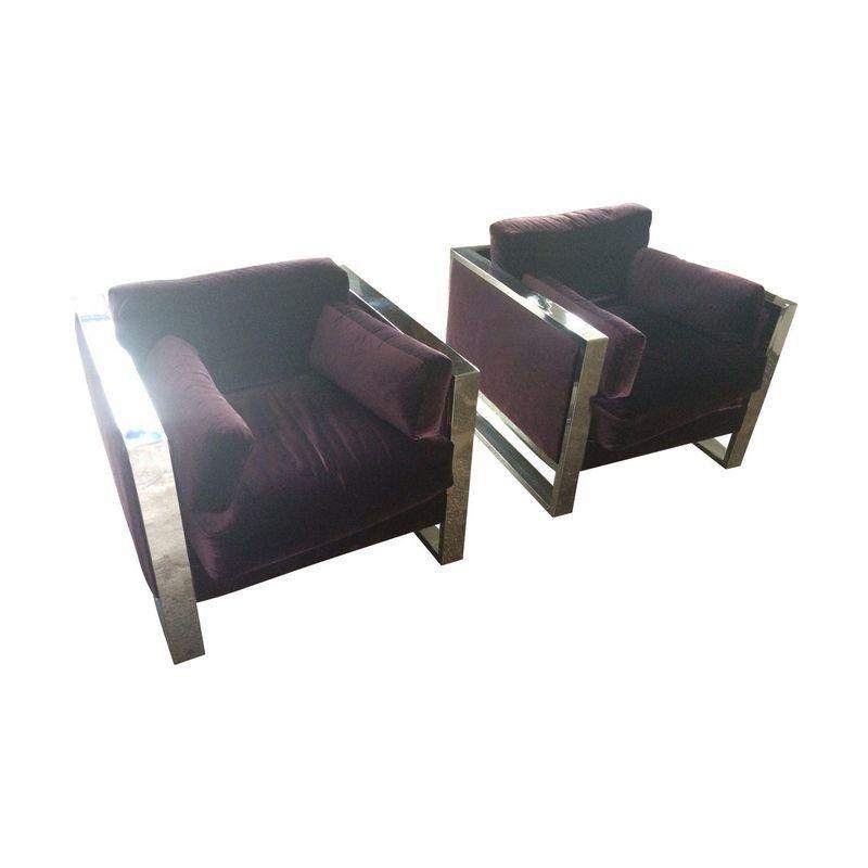 Milo Baughman Chrome Armchairs - A Pair - $3,375 Est. Retail - $2,532 on Chairish.com