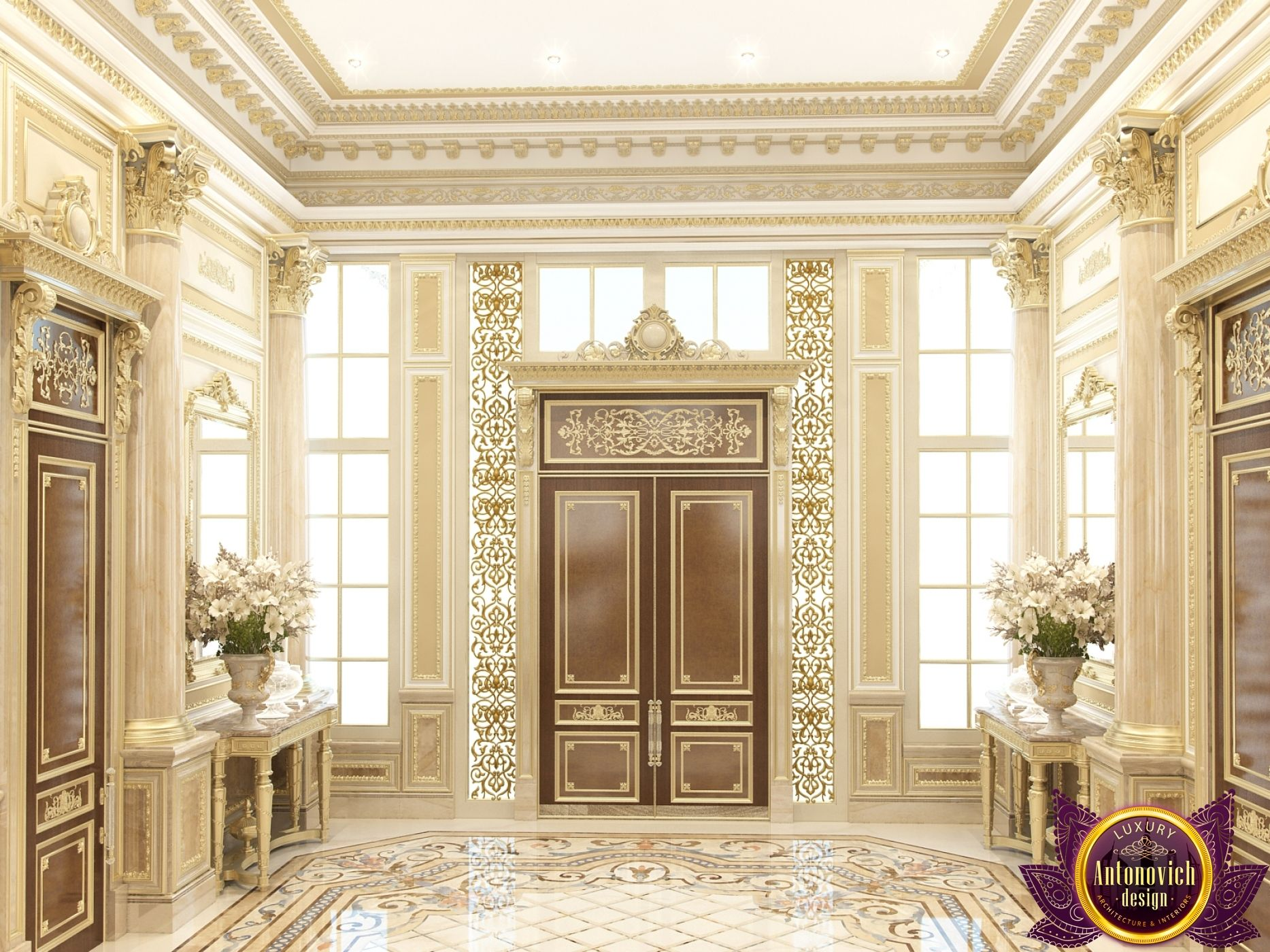 Villa interior design in dubai luxury villa in kurdistan for Classic villa interior design
