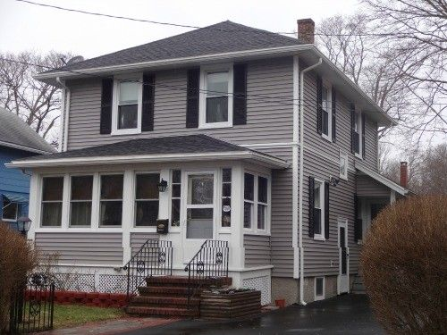 Before After Vinyl Siding Fairhaven Ma Contractor Cape Cod Ma Ri Vinyl Siding Grey Vinyl Siding House Exterior