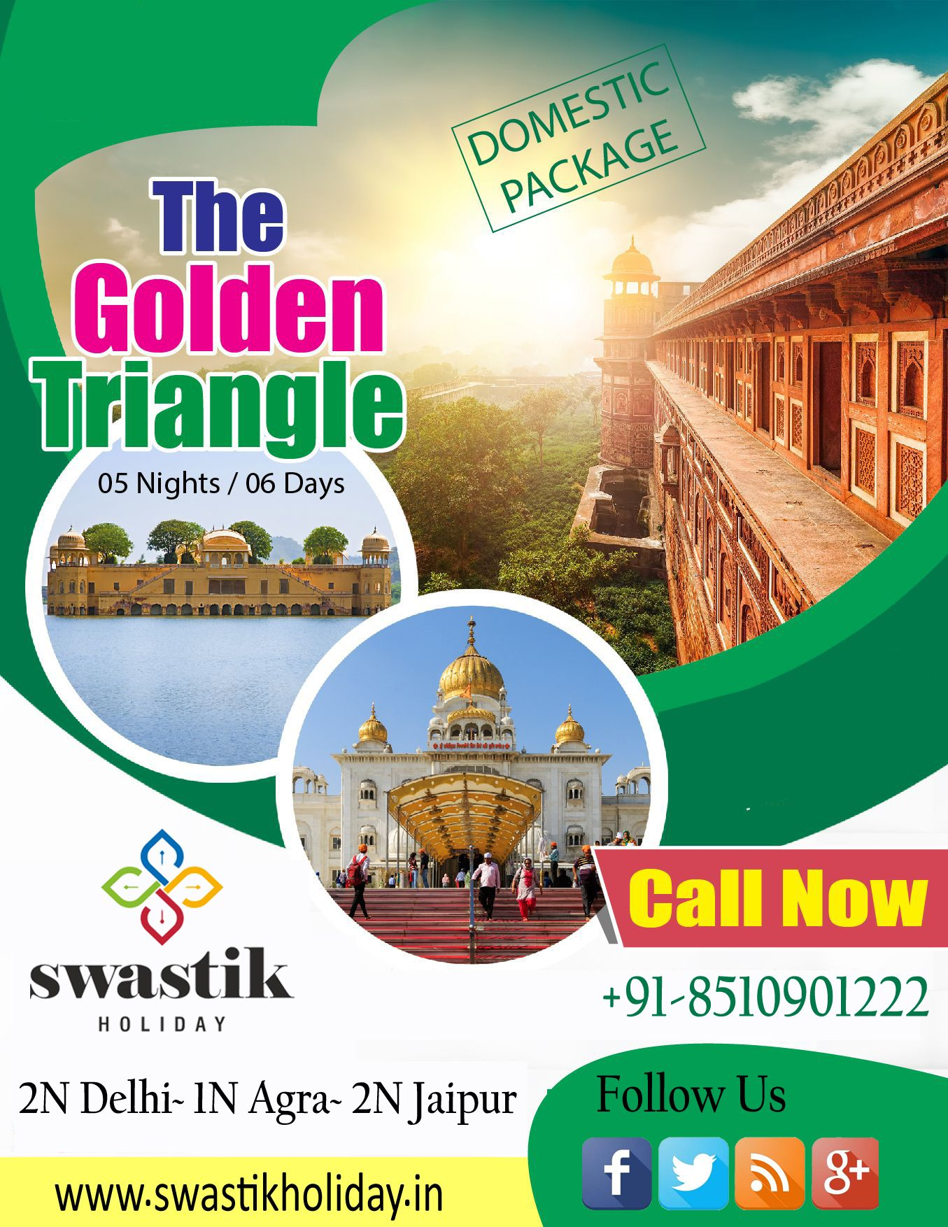 India S Golden Triangle Is A Tourist Circuit Which Connects The National Capital Delhi Agra And Jaipur For Booking Contact Tour Packages Holiday Offer Tours