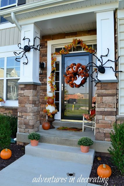 Adventures in Decorating Our 2015 Fall Front Porch Halloween - halloween decoration outside