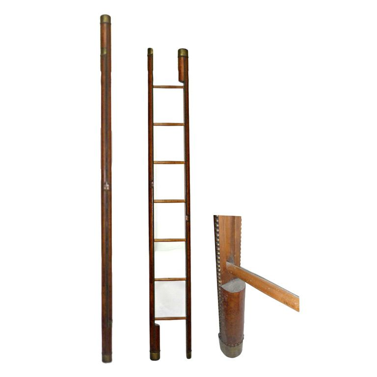 Country House Leather Uphostered Folding Library Ladder England Early 20th Century Dark Brown Leather Brass Tacki Antique Ladder Library Ladder Cool Furniture