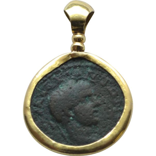 cr coin roman ancient oriental pendant