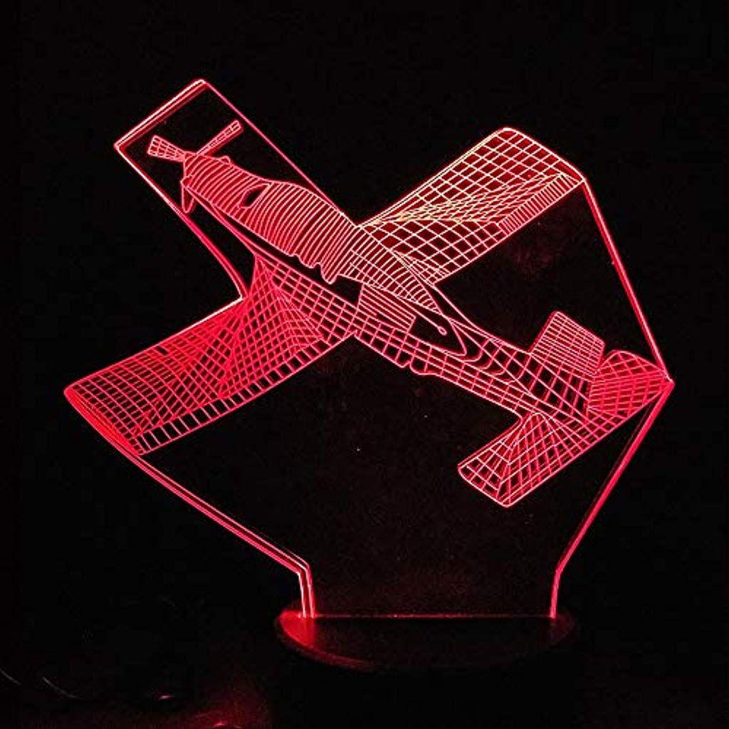 Visuelle Quelle Lampe Kampfflugzeug 3d Nachtlicht 7 Farben 3d Optische Tauschung Tischlampe Beruhrungsschalter Schlafzimm Led Tischlampe Nachtlicht Tischlampen