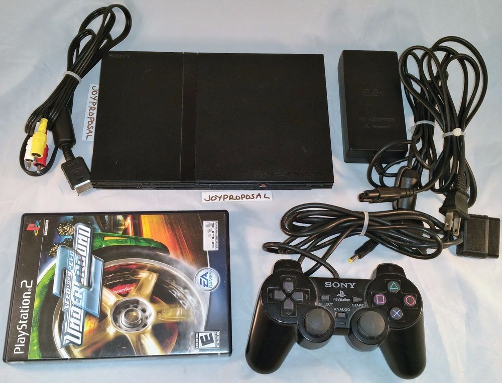 sony playstation 2 slim. sony playstation 2 slim charcoal black console scph-79001 game controller ps2 playstation