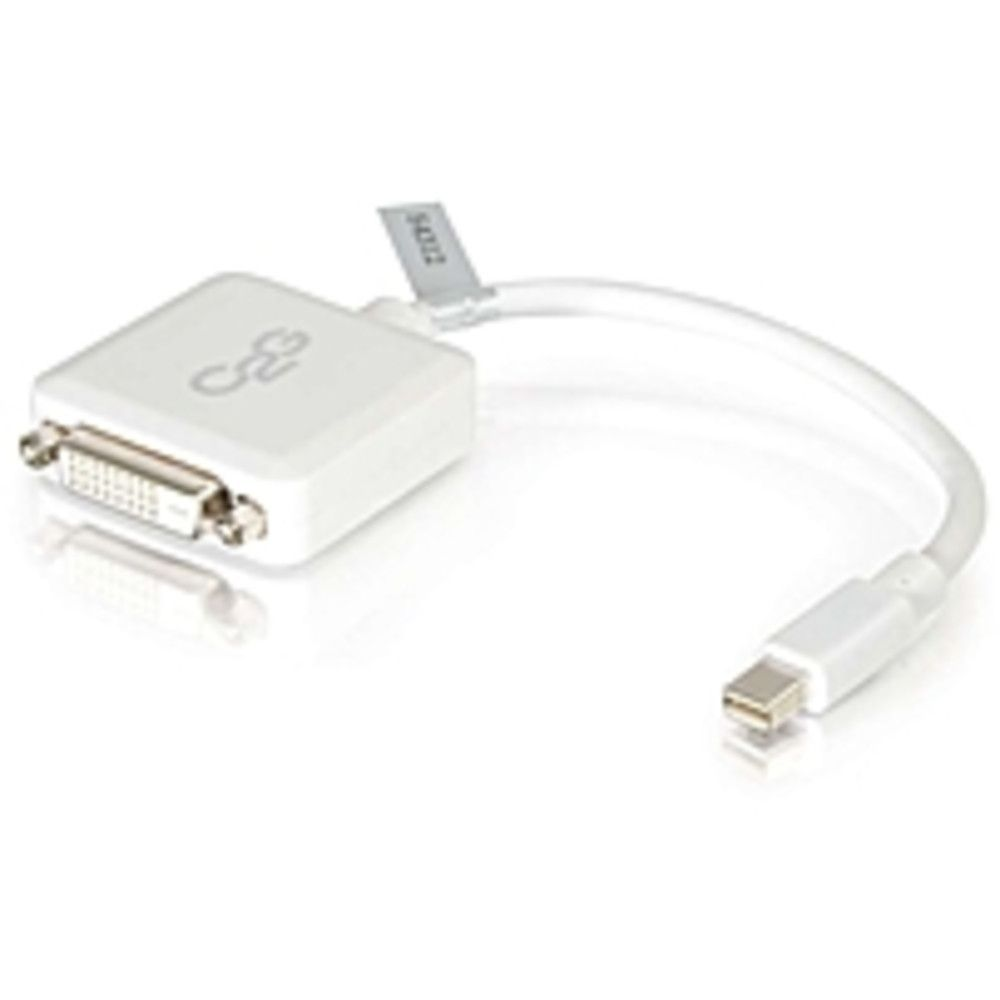 C2G 8in Mini DisplayPort to Single Link DVI-D Adapter Converter Laptops and Tablets - M-F. C2G 8in Mini DisplayPort to Single Link DVI-D Adapter Converter Laptops and Tablets - M/F White - Mini DisplayPort/DVI for Notebook, Tablet, Monitor, Video Device - 8 - 1 x Mini DisplayPort Male Thunderbolt - 1 x DVI-D (Single-Link) Female Digital VideoC2G 8in Mini DisplayPort to Single Link DVI-D Adapter Converter Laptops and Tablets - M/F White - Mini DisplayPort/DVI for Notebook, Tablet, Monitor…