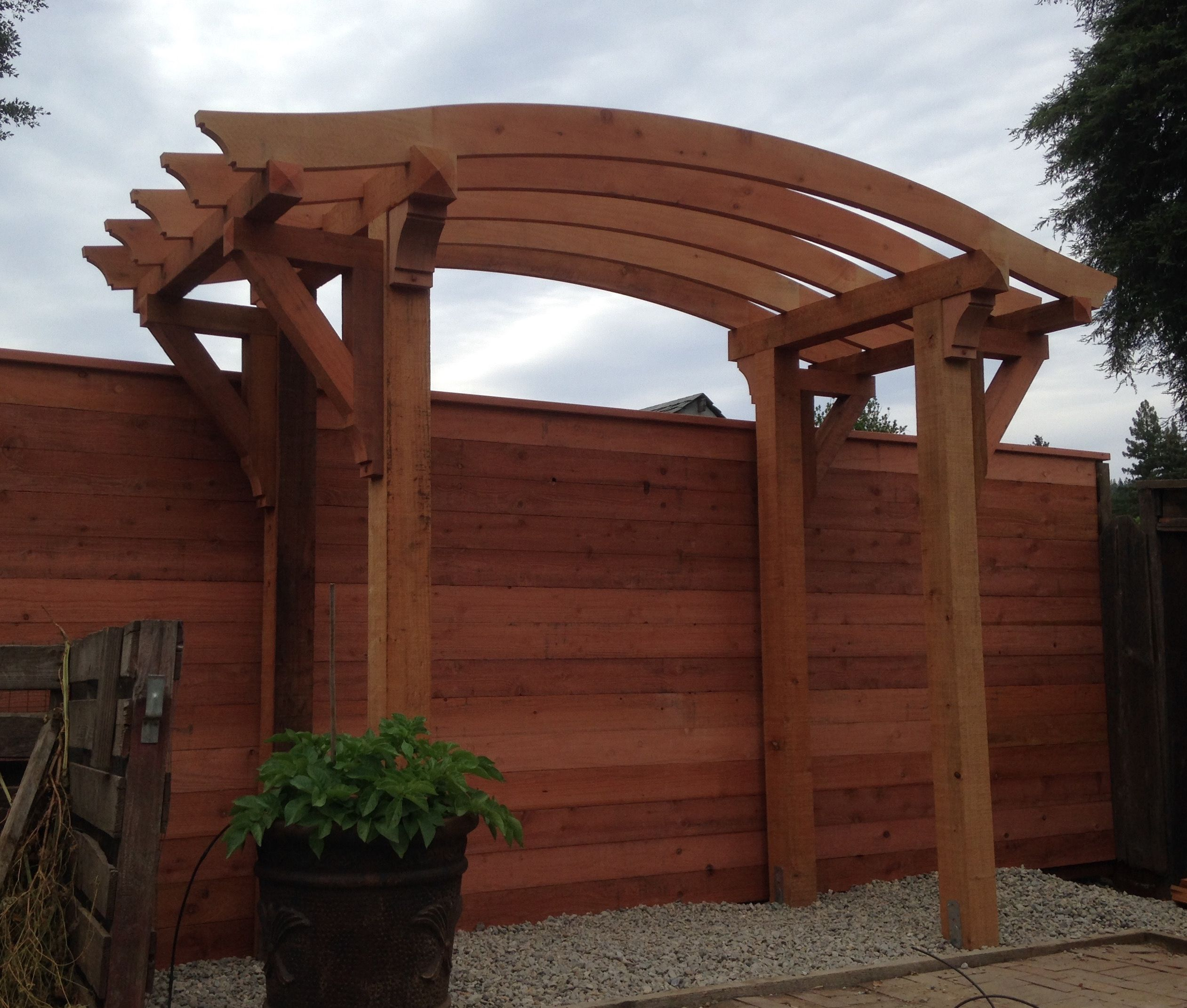 Redwood pergola with arched top | Custom woodworking ...