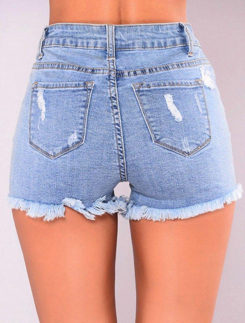 ceaf9105a2 2018 Mujeres Sexy Jean Pantalones Cortos De Cintura Alta Denim Rasgado Moda  De Verano
