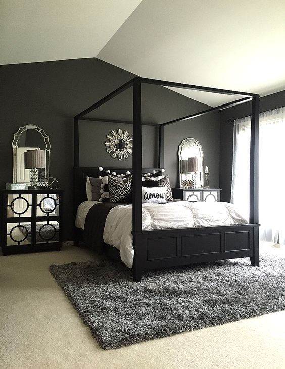 small bedroom design examples Black master bedroom, Home