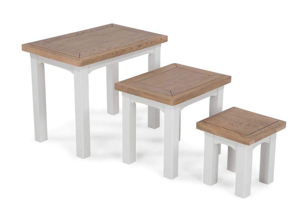 Grey oak nest of tables solid oak dining table