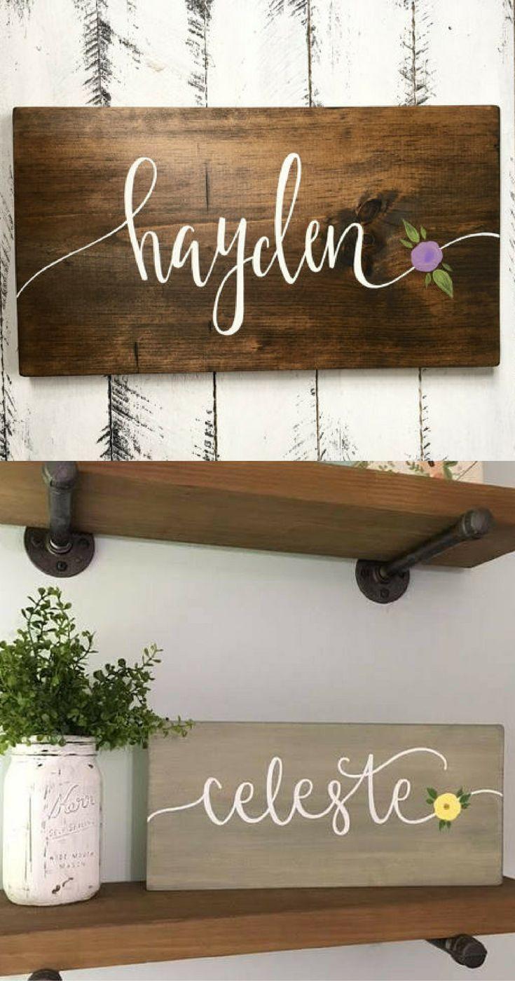Custom name sign with flower baby girl nursery room decor baby