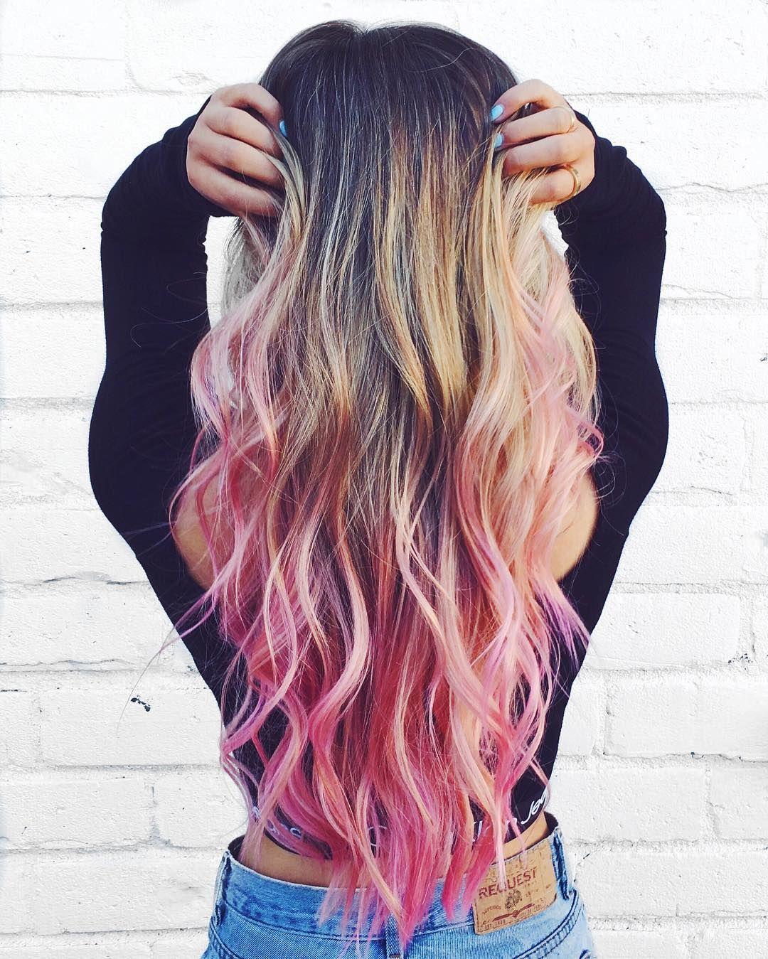 Laurdiy Colored Hair Tips Pink Blonde Hair Blonde Hair With Pink Tips