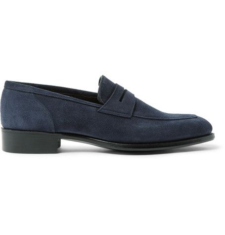 KINGSMAN KINGSMAN - GEORGE CLEVERLEY NEWPORT SUEDE PENNY LOAFERS - NAVY.  #kingsman #shoes