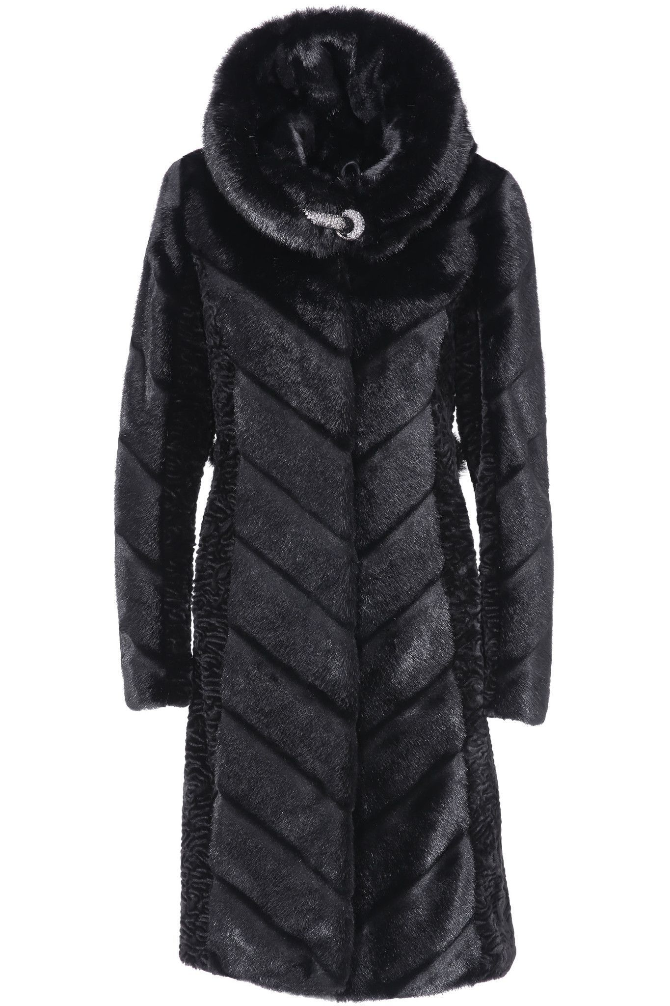 9ae69e29 ... adorned with artfully designed flashy black mink stripes across its  front. Not only does this add an interesting highlight to the black faux fur  jacket, ...