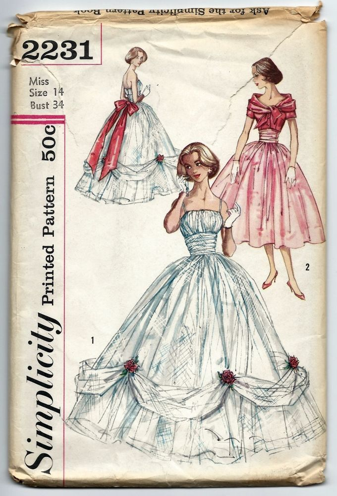 40s Vintage Sewing Pattern Simplicity 40 Ball Gown Wedding Fascinating Ball Gown Patterns