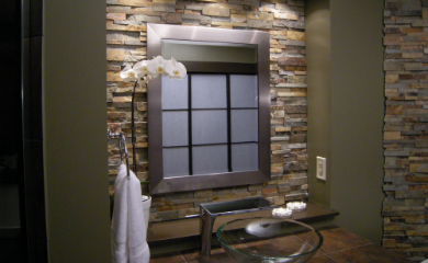 this is the stacked stone accent wall i want in my bathroom - Backsplash In Bathroom