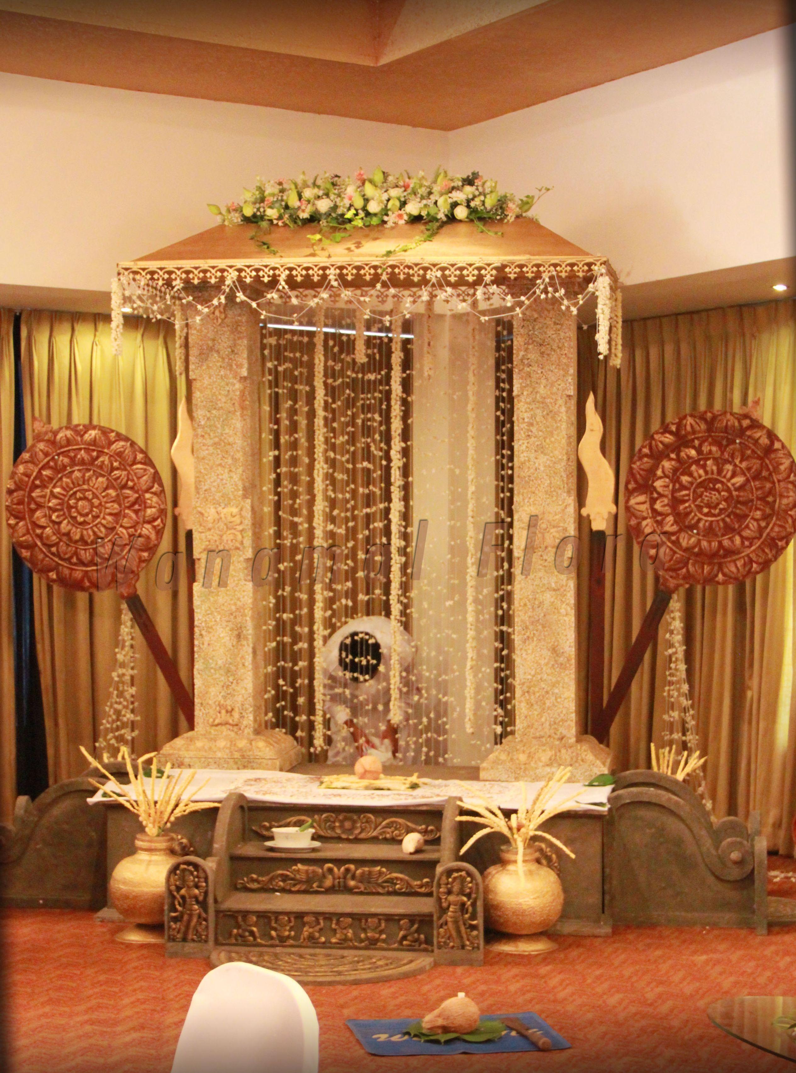 Wanamal Poruwa Decor Traditional Wedding Decor Wedding Deco Flower Decoration For Ganpati