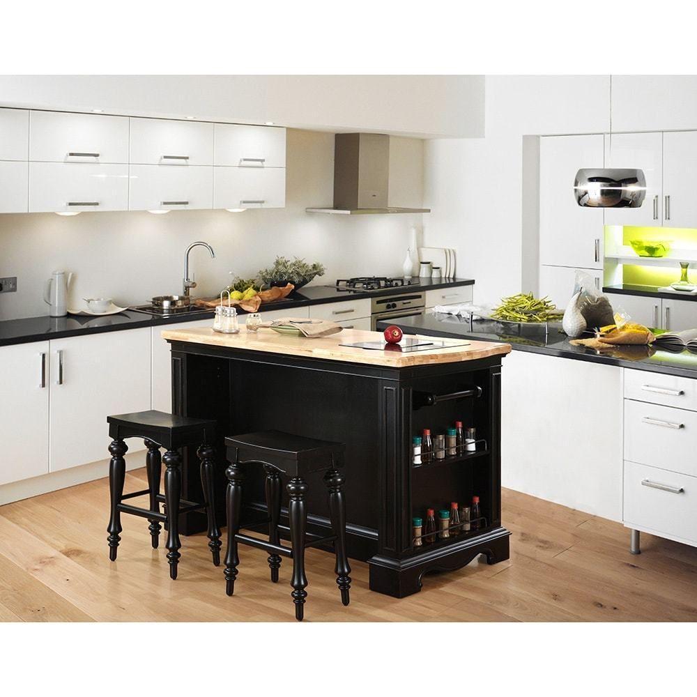 powell raeford kitchen island and stool set | stools, black granite