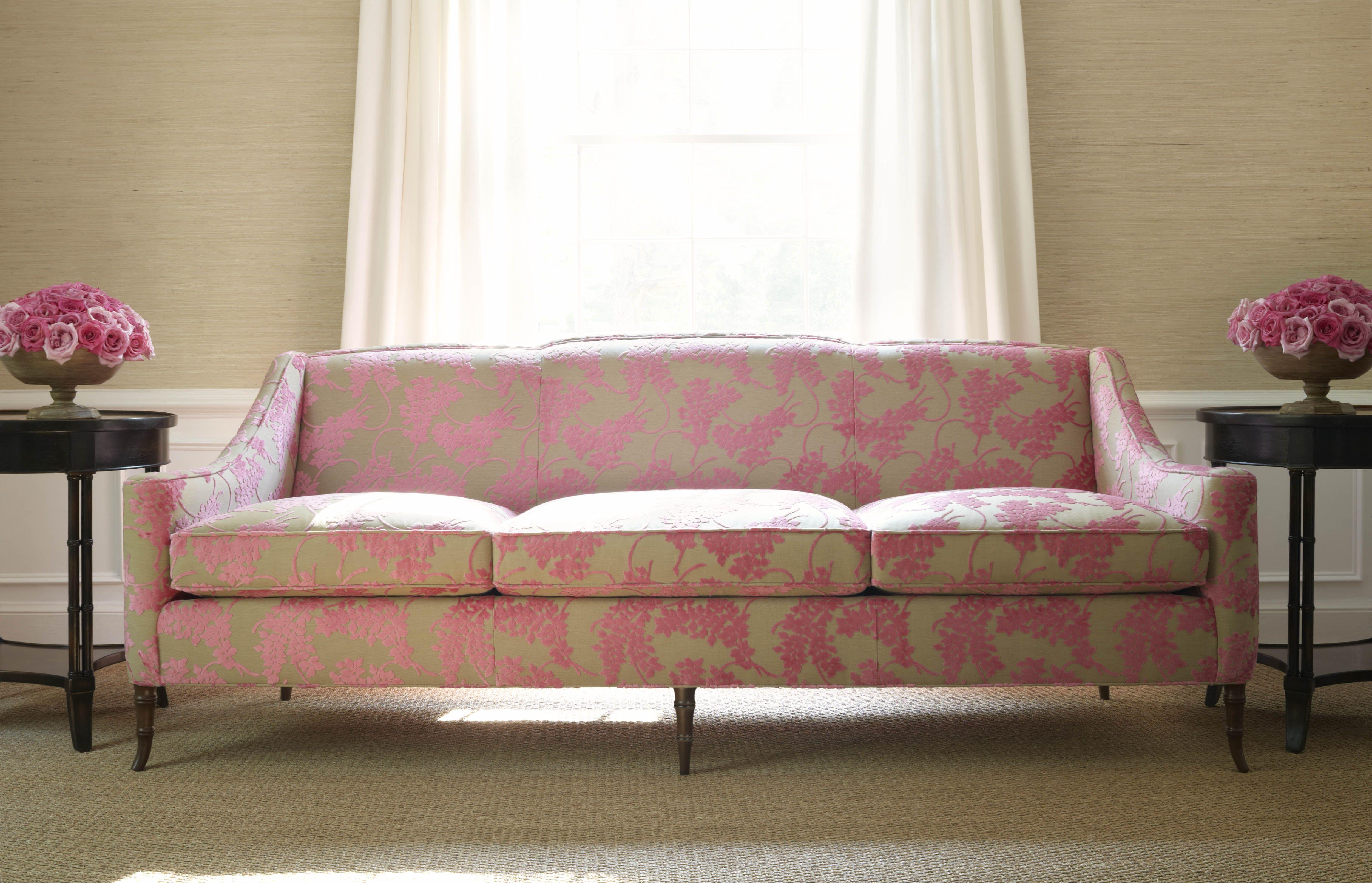 Brighton Sofa In Spring Velvet Pink Thibaut