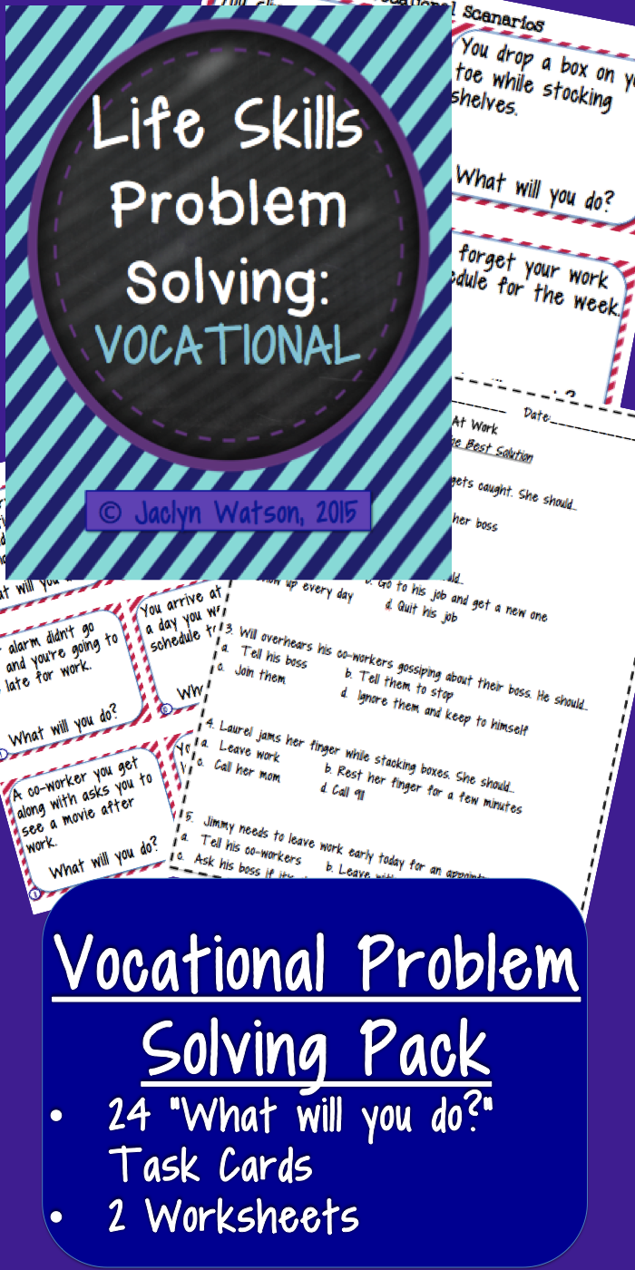 Worksheets Vocational Skills Worksheets life skills problem solving vocational slp pinterest this pack for middlehigh school students features 24 task cards and 2 worksheets generating alternate solutionsm