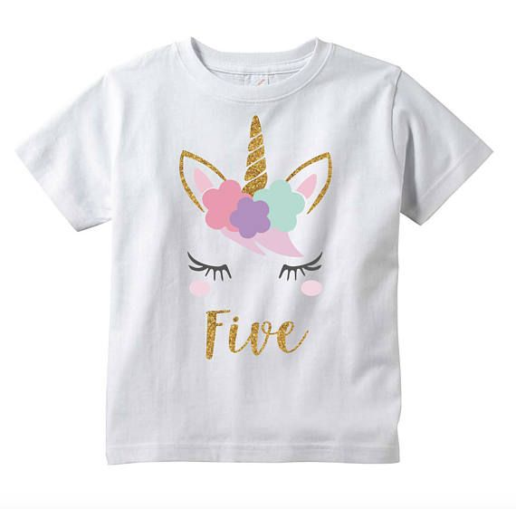 Girls Unicorn 5th Birthday T Shirt Five Year Old Gift Fifth Outfit