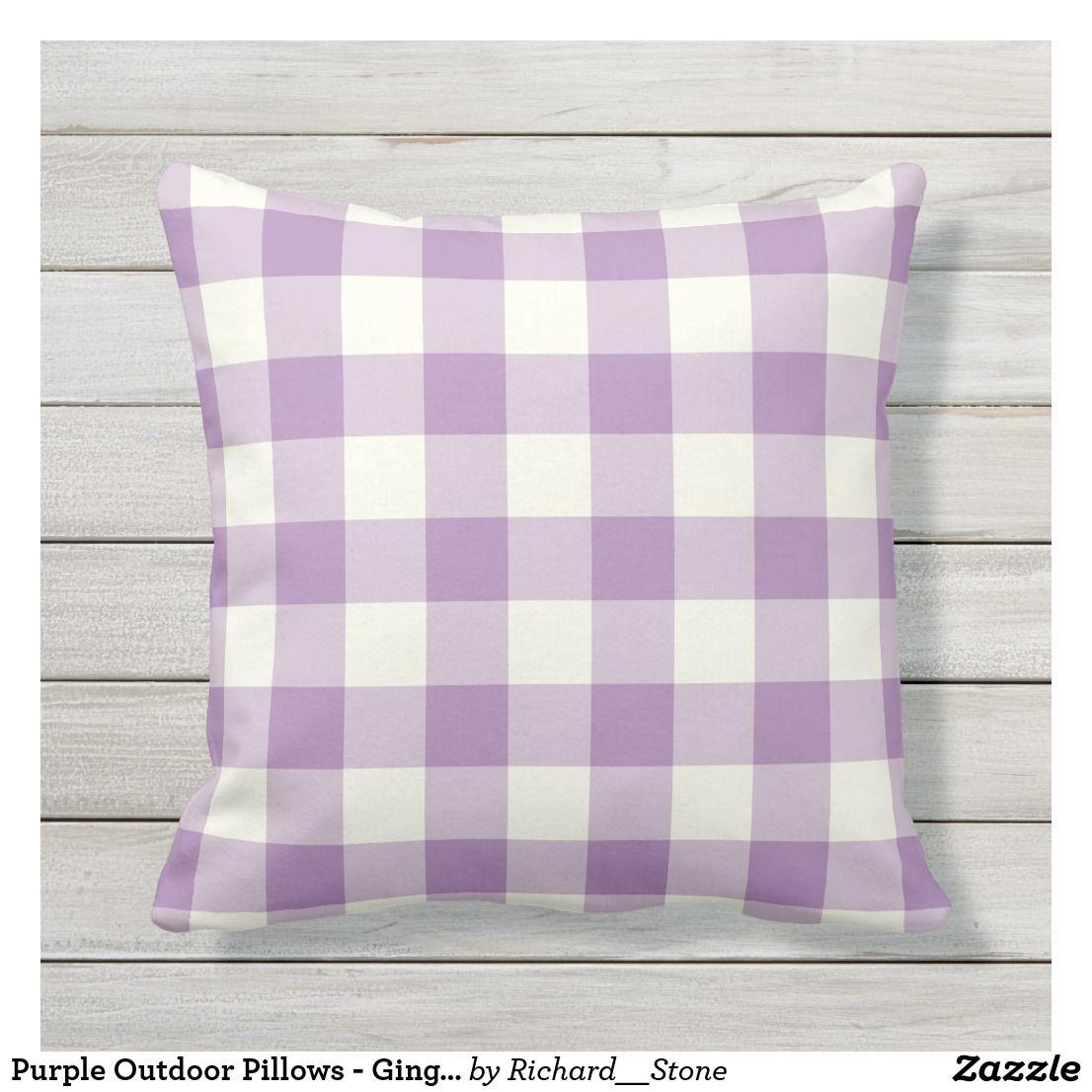 Purple Outdoor Pillows Gingham Pattern Zazzle Com Pillows