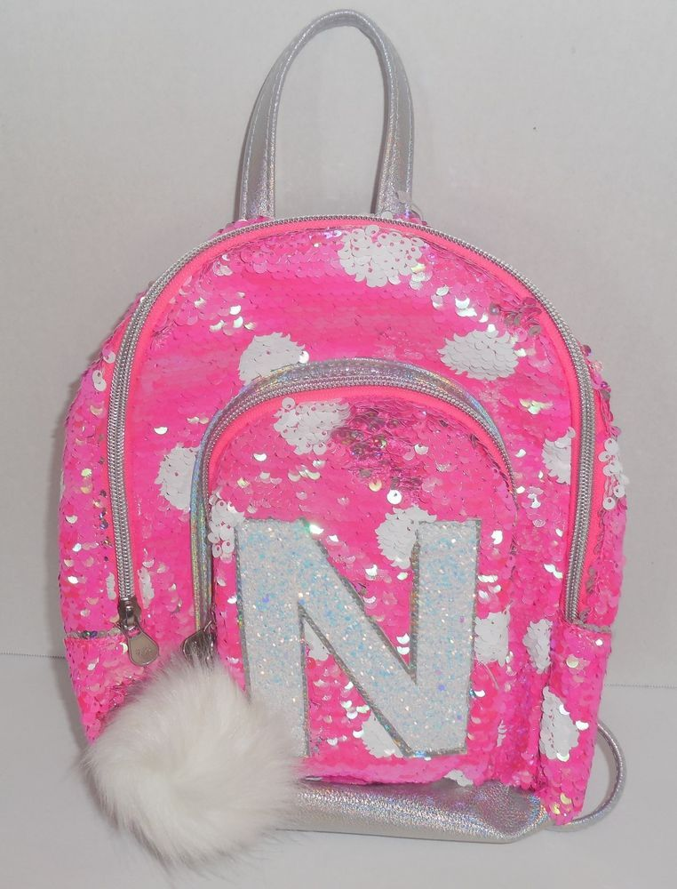 8e9d564efbb6 Justice Girls Initial N Mini Backpack Reversible Flip Sequins Pink Purse Bag  New  Justice  Backpack