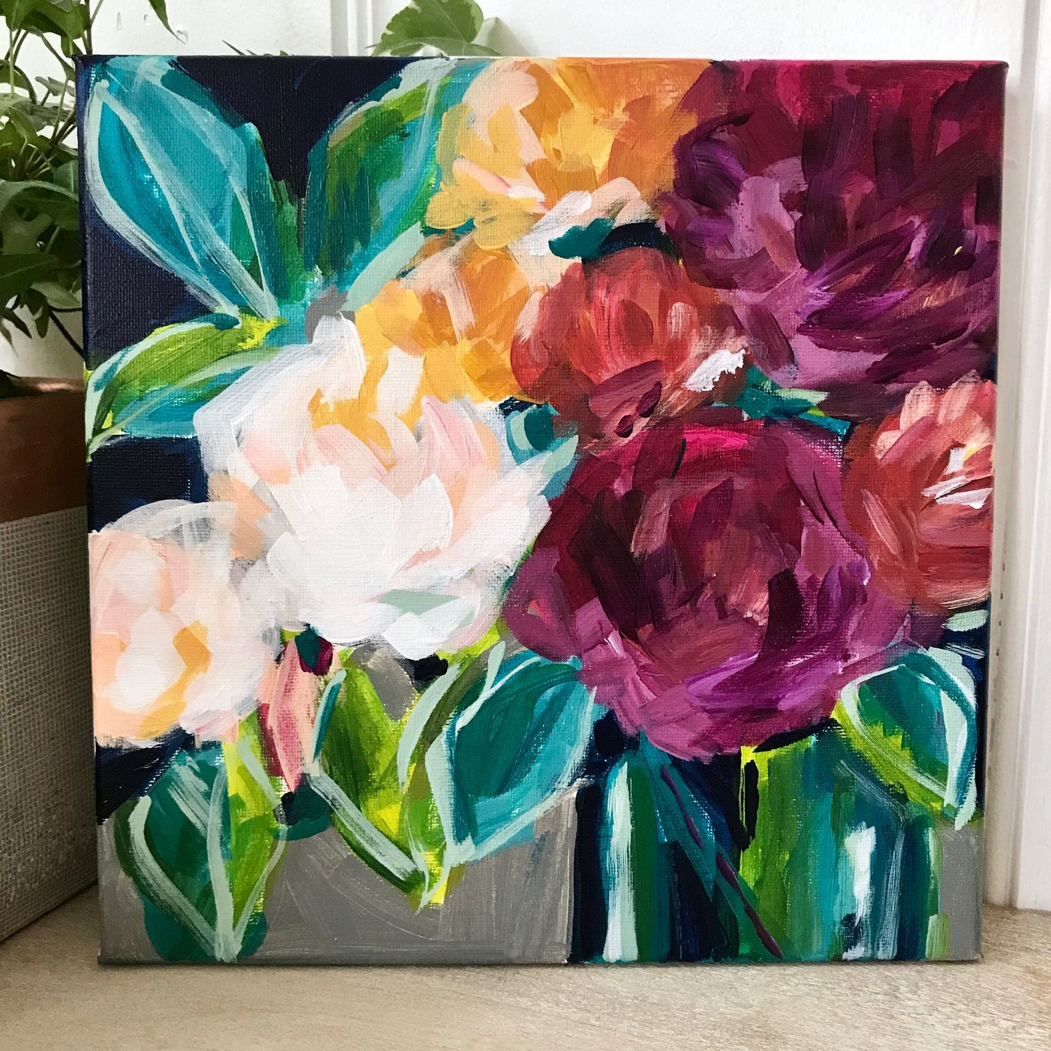 Diy Easy Abstract Flower Painting On Canvas With Acrylics Flower Painting Canvas Abstract Flowers Abstract Flower Painting