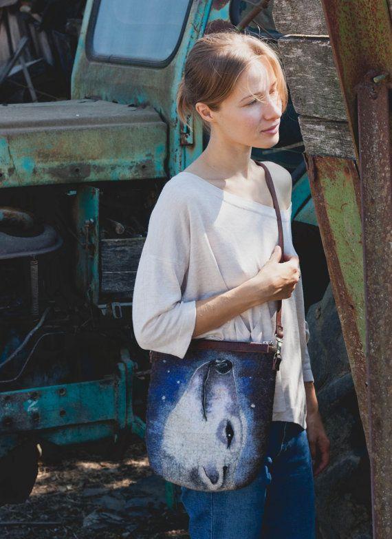 "Felted Bag Handbag Purse Felt Nunofelt Nuno felt Silk Eco handmadered bag Fiber Art boho grey bag a gift for woman ""Ice bear"""