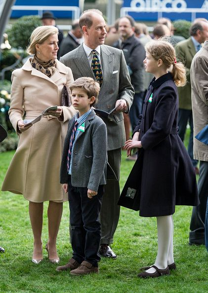 Prince Edward, Earl of Wessex and Sophie, Countess of Wessex with James Viscount Severn and Lady Louise Windsor attend the Christmas Racing Weekend at Ascot Racecourse on December 19, 2015 in Ascot, England.