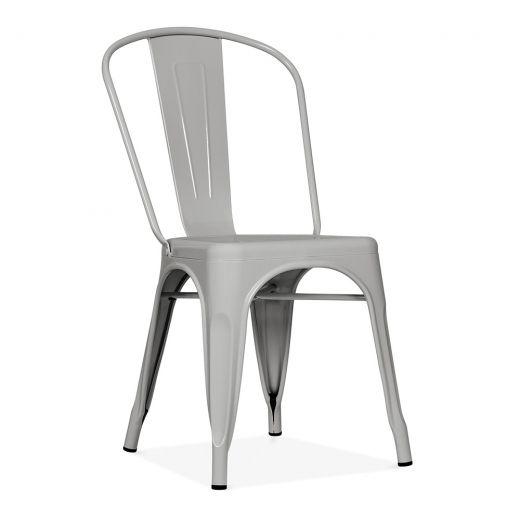 Xavier Pauchard Tolix Style Metal Side Chair Matte Cool Grey