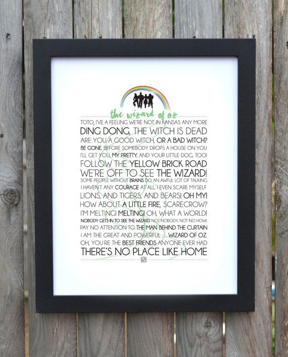 Wizard of Oz Movie/Musical Typography by