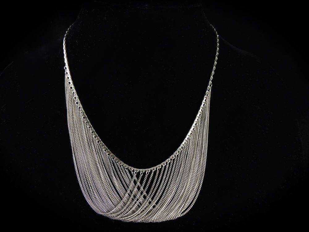 GORGEOUS VINTAGE ELEGANT STERLING SILVER STATEMENT MULTI CHAIN DRAPE NECKLACE
