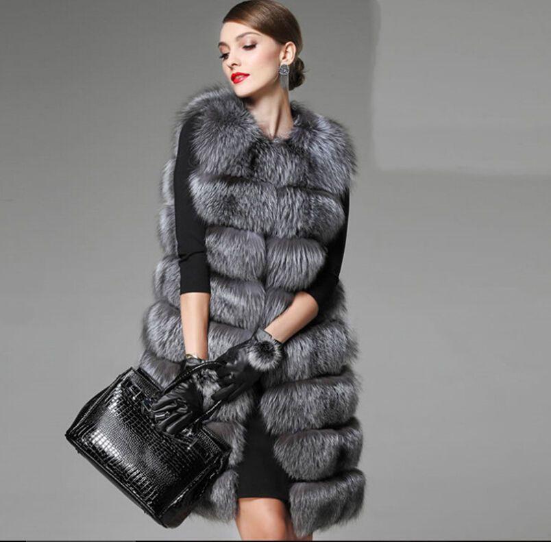 Hot Womens Hooded Vest Waistcoat Warm Real Fox Fur Jacket Coat Outwear Parka