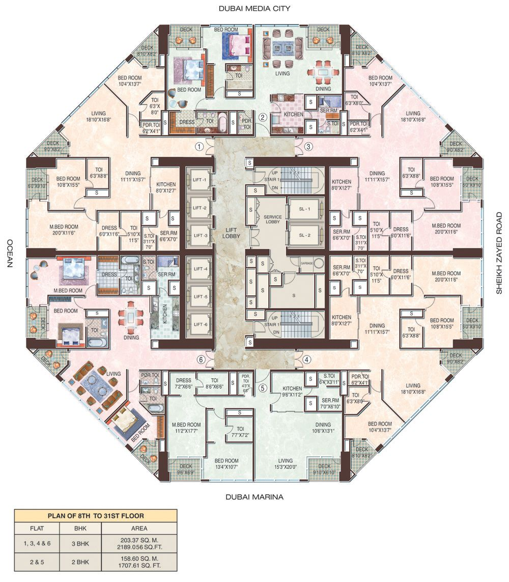 Marina Blue Floor Plans: 23 Marina Dubai Floors 8-31