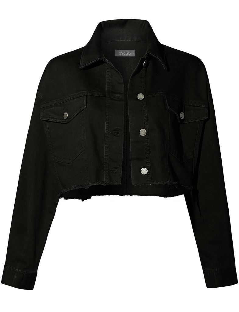 Womens Oversized Cropped Denim Jean Jacket #jeanjacketoutfits