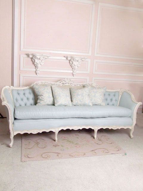 Soldvj20 Sweet Vintage French Large Sofa In Blue Linen 2995 The Bella Co Shabby Chic Sofa Chic Sofa Chic Furniture