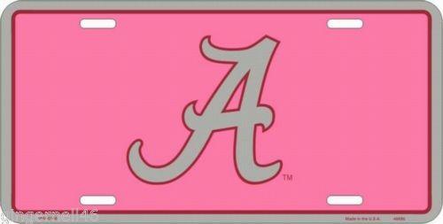 University Alabama Pink A Crimson Tide NCAA Metal License Plate Tag College