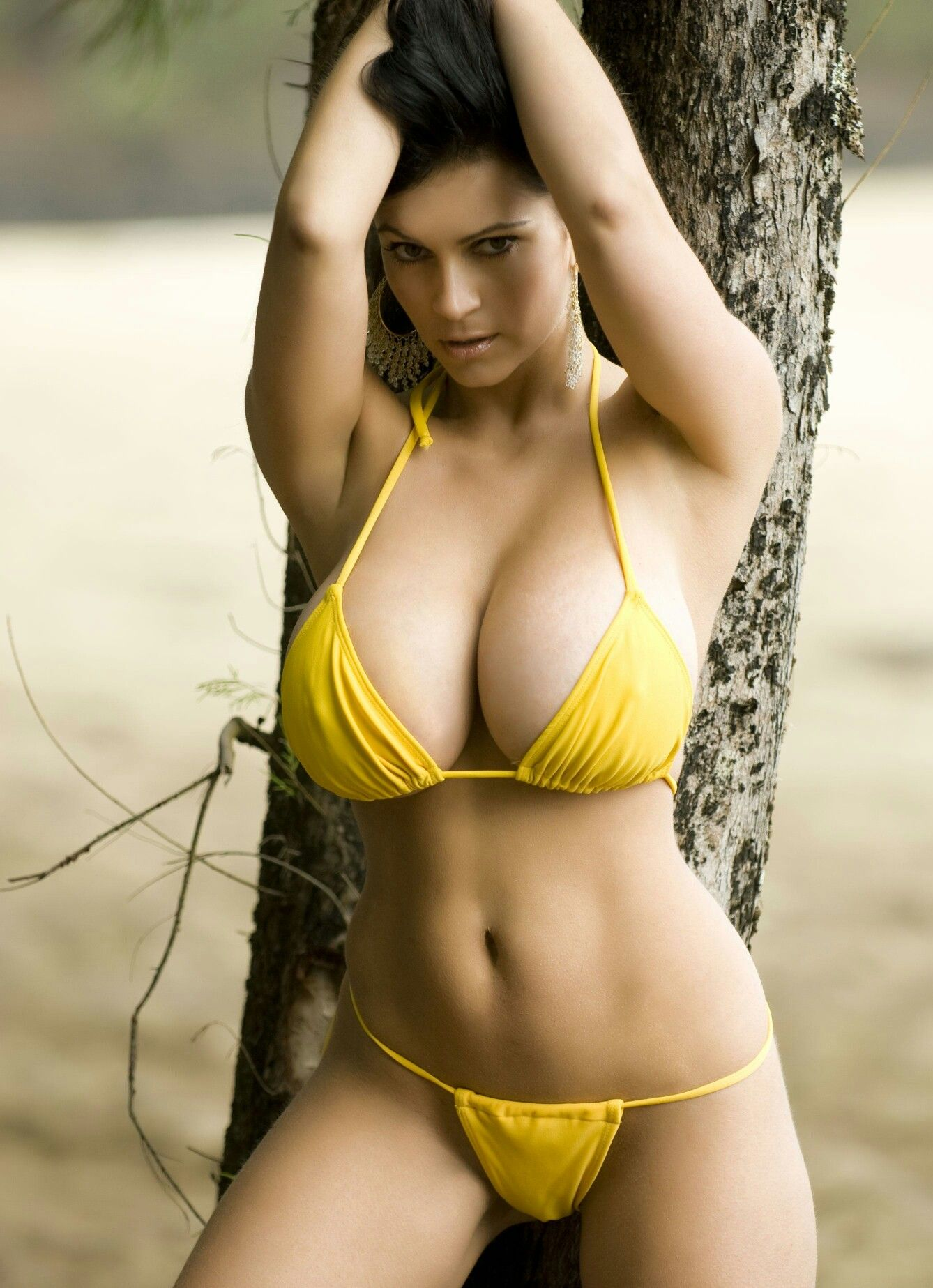 Denise Milani Yellow Bikini Video