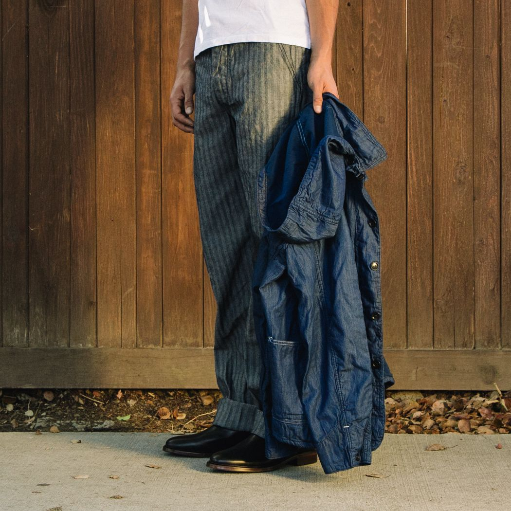 Post oualls double needle fisher string pants in denim