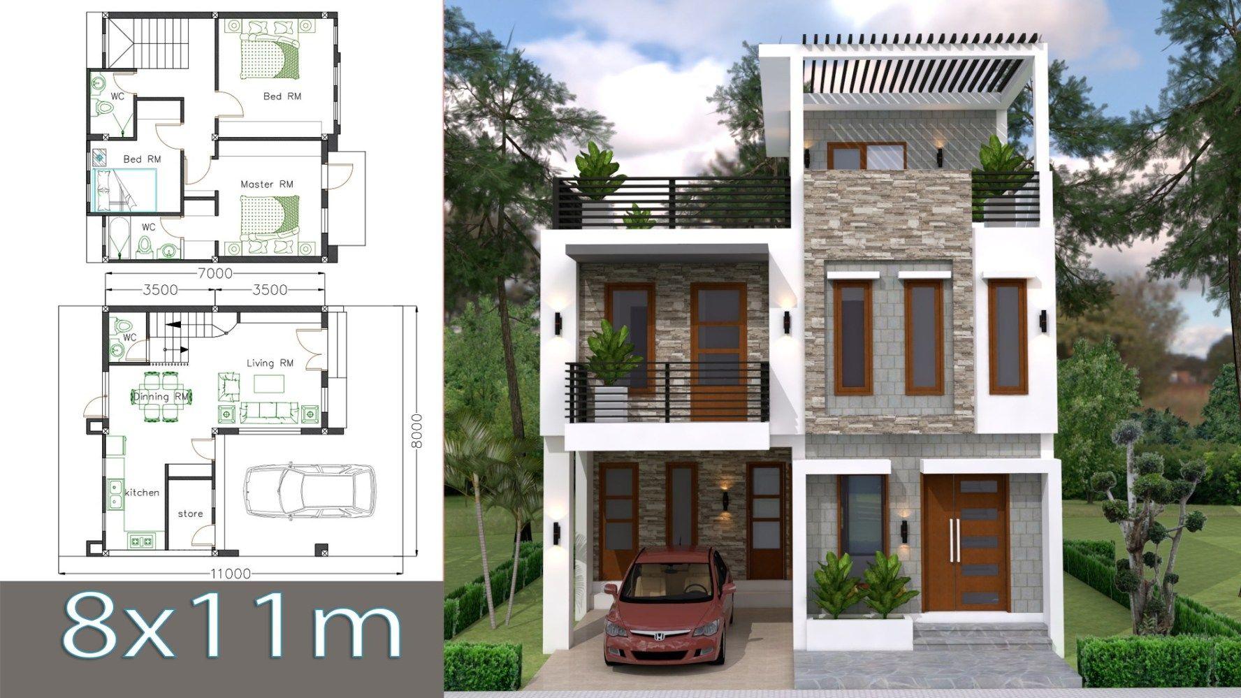 House Plans 8x11m With 3 Bedrooms Com Imagens Faxadas De Casas