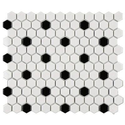Retro 7//8 x 7//8 Porcelain Matte Glazed Mosaic in Matte Black