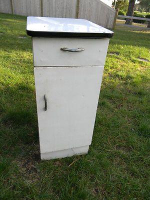 Vintage Metal Cabinets >> Vintage Metal Utility Cabinet With Enamel Top Drawer And Door Ebay