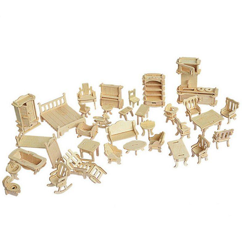34 개/대 소형 1:12 인형 집 가구 인형, 미니 3D 나무 퍼즐 DIY 건물 모델 장난감 선물