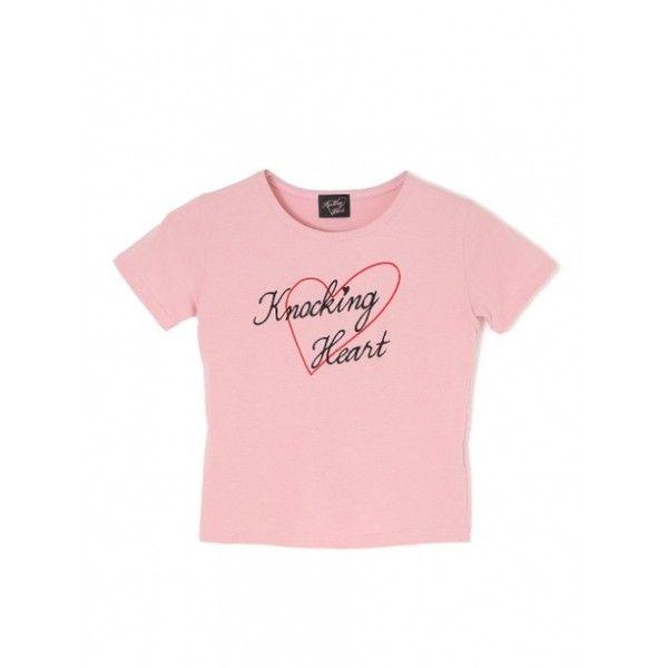【中村 里砂コラボ】ハート刺繍TEE via Polyvore featuring tops, t-shirts, pink top, pink t shirt and pink tee