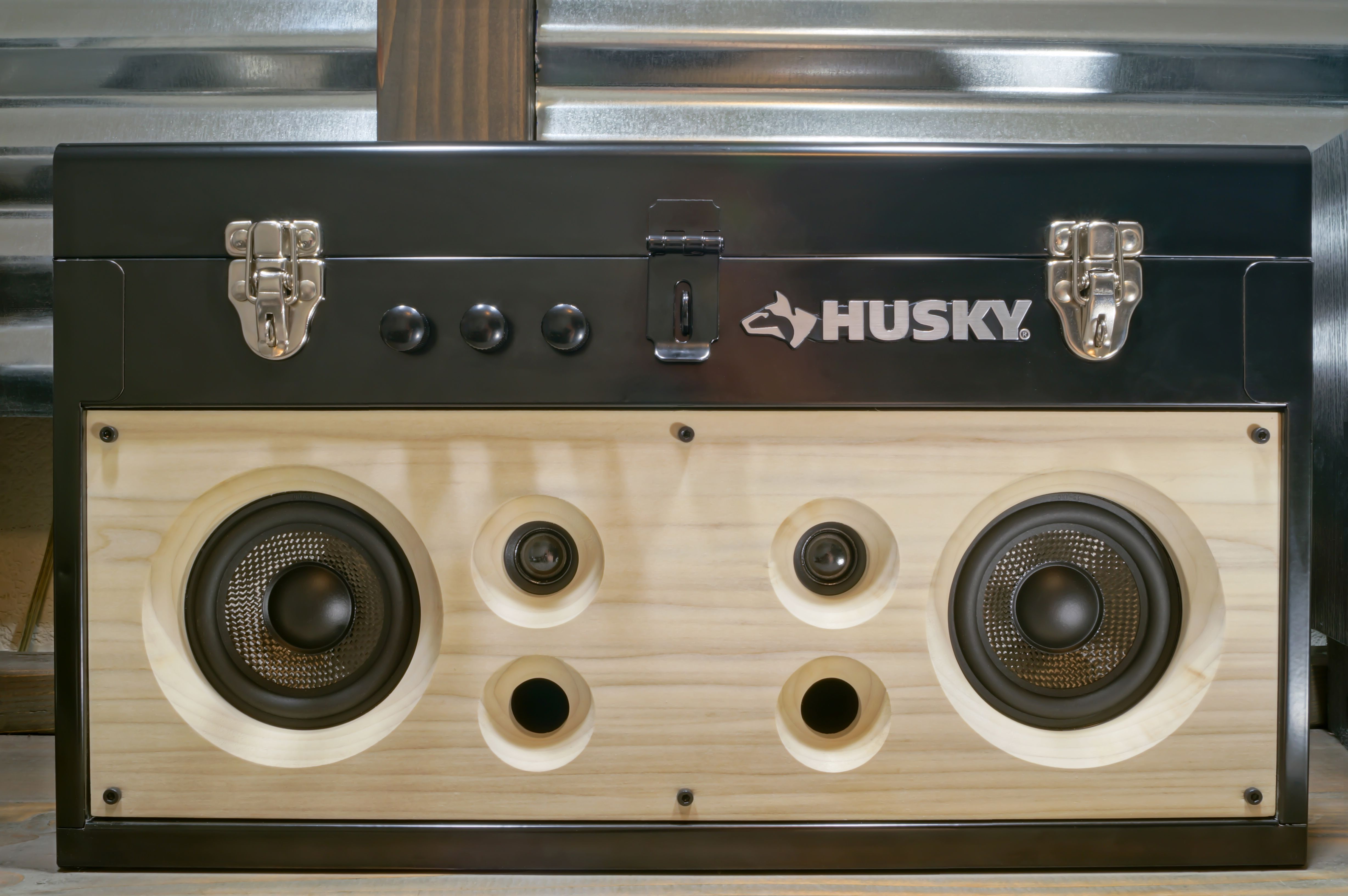 Diy Husky Tool Box Stereo Boombox V2 Completely Rechargeable With Bluetooth And Aux Stereo Inputs Parts Used Diy Speakers Tool Box Diy Diy Bluetooth Speaker
