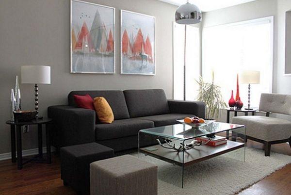 Light Grey Sofa With Dark Carpet 68 Inch Rv Sleeper Decoracion De Interiores Salas Modernas Pequeñas. ¿cómo ...