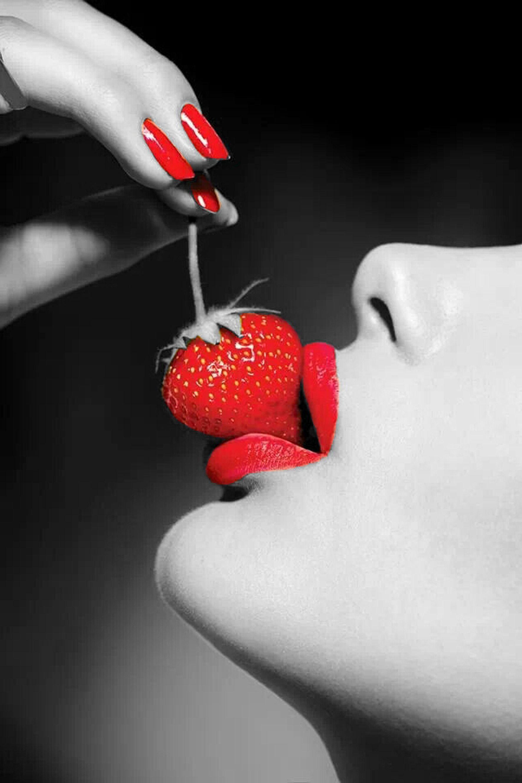 Red Lips Nature Photoshoot Strawberry Lips