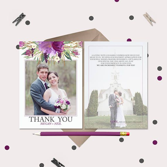 Purple Watercolor Fl Wedding Thank You Cards Pre